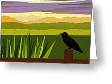 Crow In The Corn Field Greeting Card by Val Arie