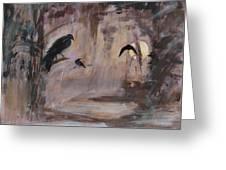 Crow Moon Greeting Card by Ethel Vrana