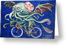 Cthulhu On A Bicycle Greeting Card by Ellen Marcus