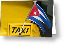 Cuba Taxi Greeting Card by Norman Pogson
