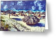 Cuban Beach Greeting Card by Odon Czintos