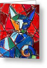 Cubist Colorful Cat Greeting Card by Mona Edulesco