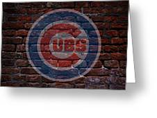 Cubs Baseball Graffiti On Brick  Greeting Card by Movie Poster Prints