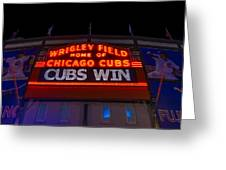 Cubs Win Greeting Card by Steve Gadomski