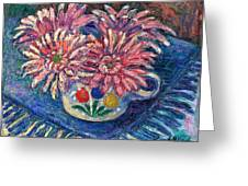 Cup Of Flowers Greeting Card by Kendall Kessler