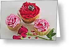 Cupcakes And Roses Greeting Card by Kenny Francis