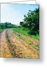 Curved Road Painting Greeting Card by George Fedin and Magomed Magomedagaev