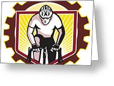 Cyclist Riding Bicycle Cycling Front Sprocket Retro Greeting Card by Aloysius Patrimonio