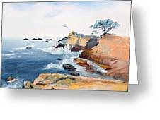 Cypress And Seagulls Greeting Card by Asha Carolyn Young