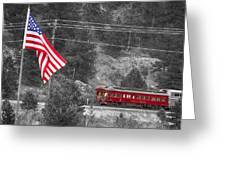 Cyrus K. Holliday Rail Car And Usa Flag Bwsc Greeting Card by James BO  Insogna