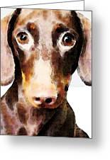 Dachshund Art - Roxie Doxie Greeting Card by Sharon Cummings