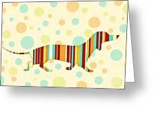Dachshund Fun Colorful Abstract Greeting Card by Natalie Kinnear