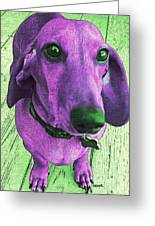 Dachshund - Purple People Greeter Greeting Card by Rebecca Korpita