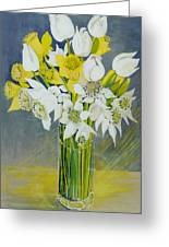 Daffodils And White Tulips In An Octagonal Glass Vase Greeting Card by Joan Thewsey