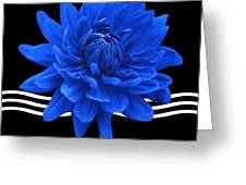 Dahlia Flower And Wavy Lines Triptych Canvas 2 - Blue Greeting Card by Natalie Kinnear