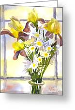Daisies With Yellow Irises Greeting Card by Kip DeVore