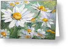 Daisy Delight Palette Knife Painting Greeting Card by Chris Hobel