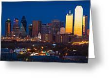 Dallas Skyline Panorama Greeting Card by Inge Johnsson