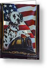 Dalmatian The Firefighters Mascot Greeting Card by Paul Ward