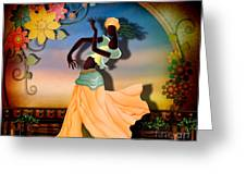 Dancer Of The Balcony Greeting Card by Bedros Awak
