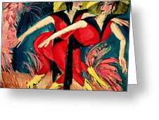 Dancers In Red Greeting Card by Ernst Ludwig Kirchner