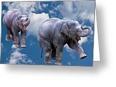 Dancing Elephants Greeting Card by Jean Noren