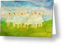 Dancing On Top Of The Grass Greeting Card by Ann Michelle Swadener
