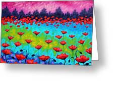 Dancing Poppies Greeting Card by John  Nolan