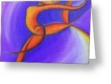 Dancing Sprite in Purple and Orange Greeting Card by Tiffany Davis-Rustam