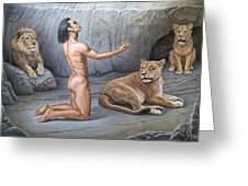 Daniel In The Lion's Den Greeting Card by Paul Krapf