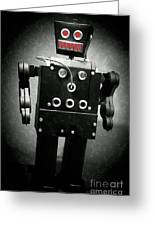 Dark Metal Robot Oil Greeting Card by Edward Fielding