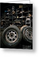 Dark Old Garage Greeting Card by Amy Cicconi
