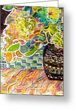 Dark Vase With Flowers On Table Greeting Card by Anne-Elizabeth Whiteway