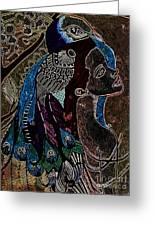 Darkside Peacock Woman Greeting Card by Amy Sorrell
