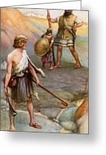 David And Goliath Greeting Card by Arthur A Dixon