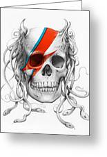 David Bowie Aladdin Sane Medusa Skull Greeting Card by Olga Shvartsur