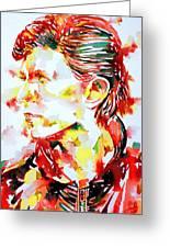 David Bowie Watercolor Portrait.1 Greeting Card by Fabrizio Cassetta