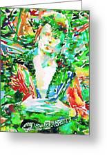 David Bowie Watercolor Portrait.2 Greeting Card by Fabrizio Cassetta