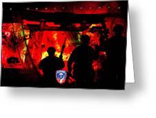 David Cook Los Angeles 187th Regiment Rakkasan Ne Desit Virtus Artwork Greeting Card by David Cook Los Angeles