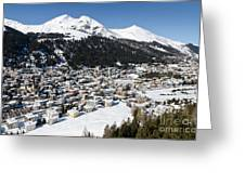 Davos Platz Mountains Parsenn And Town Greeting Card by Andy Smy