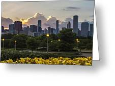 Day Lilys And Chicago Skyline In A 3 To 1 Aspect Ratio Greeting Card by Sven Brogren