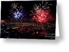 Dazzling Fireworks II Greeting Card by Ray Warren