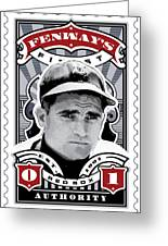 Dcla Bobby Doerr Fenway's Finest Stamp Art Greeting Card by David Cook Los Angeles