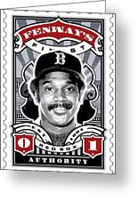 Dcla Jim Rice Fenway's Finest Stamp Art Greeting Card by David Cook Los Angeles
