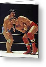 Dean Ho Vs Don Muraco In Old School Wrestling From The Cow Palace Greeting Card by Jim Fitzpatrick