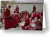Debating Monks - Sera Monastery Lhasa Greeting Card by Craig Lovell