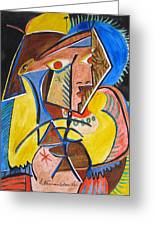 Deconstructing Picasso  - A Sexy Woman Greeting Card by Esther Newman-Cohen