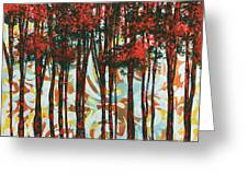 Decorative Abstract Floral Bird Landscape Painting Forest Of Dreams II By Megan Duncanson Greeting Card by Megan Duncanson