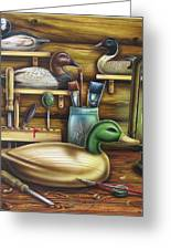 Decoy Carving Table Greeting Card by JQ Licensing