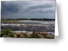 Deer Point Dam Greeting Card by Debra Forand